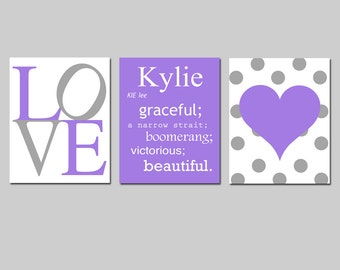 Girl Nursery Art Trio - Love, Custom Name Meaning, Polka Dot Heart - Set of Three 8x10 Prints - Kids Wall Art - CHOOSE YOUR COLORS
