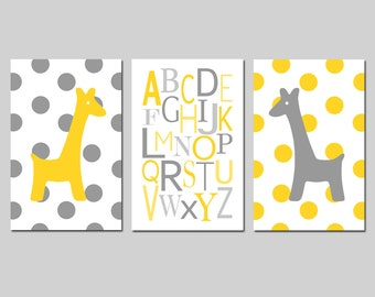 Giraffe Nursery Art Alphabet abc Trio - Set of Three 11x17 Prints - Polka Dot - CHOOSE YOUR COLORS - Shown in Yellow and Gray