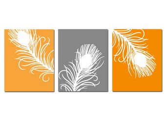 Peacock Feather Art Trio - Set of Three 8x10 Coordinating Prints - Modern Wall Art - CHOOSE YOUR COLORS - Shown in Orange, Gray, and More