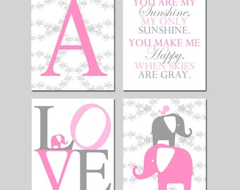 Baby Girl Nursery Art Quad - Floral Initial, You Are My Sunshine, LOVE, Elephant Bird Stack - Set of Four 8x10 Prints - Choose Your Colors