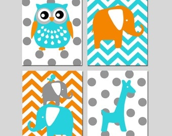 Animal Nursery Art Quad - Owl, Elephant, Bird, Giraffe - Chevron Polka Dot - Kids Wall Art - Set of Four 8x10 Prints - CHOOSE YOUR COLORS