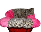 Shopping Cart Cover for baby or toddler girl  - Restaurant High Chair Cover - Padded Grocery Cart Seat Cover -  Cheetah & Hot Pink Minky Dot
