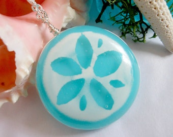 Fused Glass Sand Dollar Sanddollar Shell Beach Ocean Vacation Wedding Mermaid Summer Aqua Turquoise Blue White Necklace Pendant