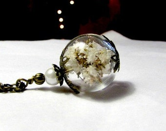Antique Brass Vintage  Baby's Breath Flower Orb Crystal Hollow Lampwork Bead Round Necklace  - 24 inches