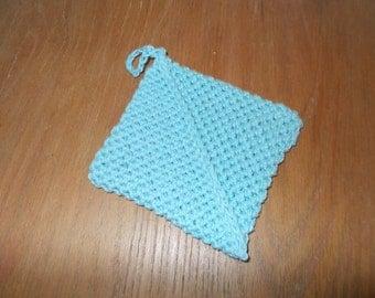 Diagonal Crochet Potholder Turquoise