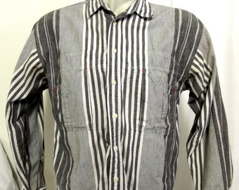 Grey and White striped button up shirt - Rockabilly country -  western fashion -Pier Connection brand