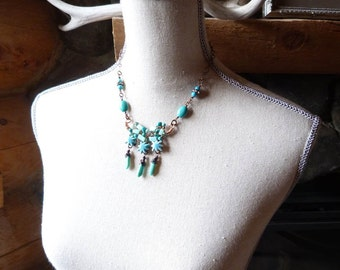 Northern Stars boho turquoise necklace - free form wire wrapped stones