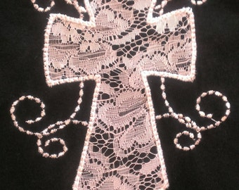 Appliqued lace cross t-shirt