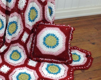 Hippie Chic Afghan & Pillow Set Crochet Pattern PDF