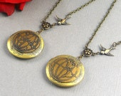 Golden World Global Set, Earth Locket, Bronze Hemispheres Locket, Travel, Atlas Map, Two Lockets Valentine Set- AFFINITY 2