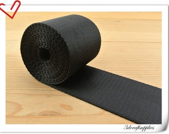 5 yards of 2 inch (5cm) Heavy weight  Black Nylon webbing ZD71