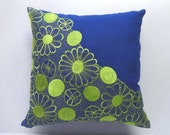 Floral Embroidery pillow cover 18 inch Custom Made-Blue, Red, Green