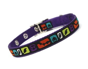 SALE - modern colorblock purple halloween metal buckle dog collar (1/2 inch)
