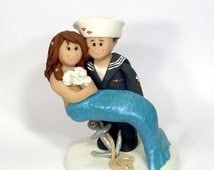 sailor and mermaid wedding cake topper popular items for sailor wedding on etsy 19618