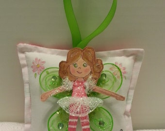 Girl Tooth Fairy Pillow - Made To Order - Hand Painted - Cloth Fairy -  Add name for FREE