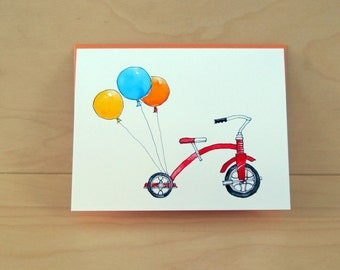 SALE Tricycle Card - birthday card - baby card