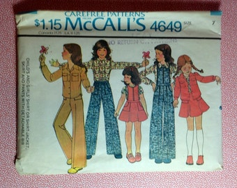Vintage McCall's Sewing Pattern Children 4649 Size 7
