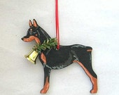 Hand-Painted DOBERMAN BLACK Wood Christmas Ornament Artist Original...choose pine or candy cane