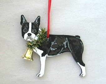 Hand-Painted BOSTON TERRIER Wood Christmas Ornament Artist Original....choose pine or candy cane design