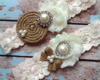 Burlap garter /wedding garter / bridal  garter/  IVORY STONE /  garter / barn rustic wedding garter / vintage inspired lace garter