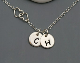 Personalized Initial and Two Hearts Necklace - Personalize Sterling Silver necklace, Tiny Hearts Necklace