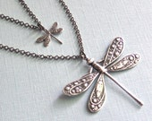 Layered Dragonfly Necklace - Silver Layered Necklace, Double Strand Necklace, Dragonfly Jewelry, Nature Jewelry, Garden Jewelry,