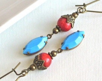 Coral Turquoise Earrings - Brass, Southwest Jewelry