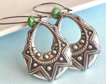 Silver Hoop Earrings - Boho, Bohemian