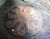 Octopus Copper Etched Wallet / Cigarette Case in Steampunk Victorian  - Acid Bath Series