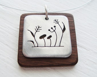 Weeds Cutout Square Neckwire Necklace with Walnut Wood -- Modern Woods