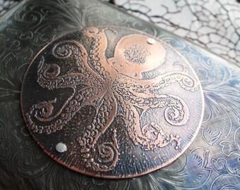 Octopus Copper Etched Wallet / Cigarette Case in Steampunk Victorian  - Acid Bath Series
