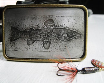 Trout Fish Belt Buckle in Embossed  Design  - Acid Bath Series