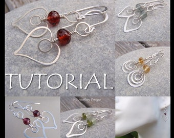 Wire Jewelry Tutorial - HAMMERED HEARTS ( Earrings) - Step by Step Wire Wrapping Wirework Instructions - Instant Download