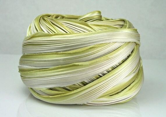 Silk Ribbon Hand Dyed Shibori Silk Ribbon Cream Green Shibori Girl