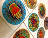 Hamsa Hand Coasters In All Colors Unique Handmade Gift Best anniversary present or birthday gift Best teacher present house decor Set of 8
