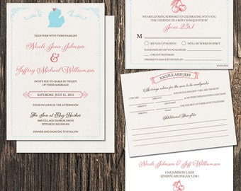 Michigan Wedding Invitation Set - Michigan State  Destination Wedding