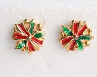 Christmas Wreath PIerced Earrings Vintage Xmas Red Green Enamel Holiday