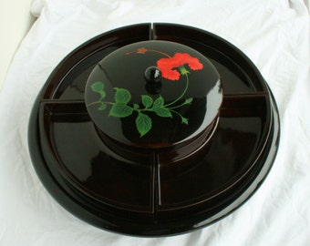 Black Lacquer Japanese Lazy Susan Vintage Large Lacquerware Serving Tray Removable Bowls Lid