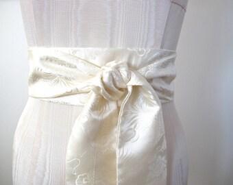 Ivory Silk Sash, Ivory Wedding Sash, Chinese Dragon, Wedding Sash, Obi Belts