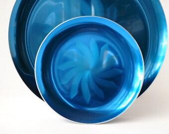 Olden Design of Norway Anodized Aluminum Pinwheel Plates, Vibrant Blue, Olden Aluminum Plates, Scandinavian Modern Home, Olden Blue