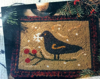 First Snowfall by Need'l Love - Traditional Hooked Rug Pattern on Monk's Cloth - Bird, Snowflake, Berries