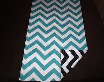 Turquoise and Black Reversible Chevron Table Runner