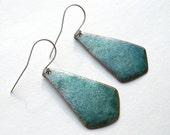 Enamel Earrings - Summer Earrings - Ombre Earrings - Turquoise Dangle Earrings - Summer Jewelry - Beach Jewelry - Boho Earrings