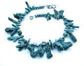 Mermaid's Laundry -- Bold Denim Blue Choker with Big (dyed) Coral Branches and Teal Freshwater pearls