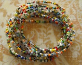 African trade bead bracelets- Ghana Christmas beads - set of nine stretch bracelets- simple, colorful stack-  extra small Christmas beads