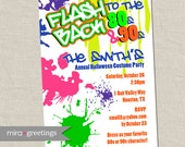 80s Halloween Party Invitations - 90s New Years Eve Neon Party Invitation - Retro 80's 90's invites (Digital Printable File)