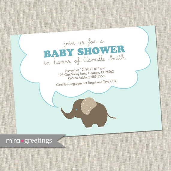 elephant baby shower invitations baby boy invites gender neutral