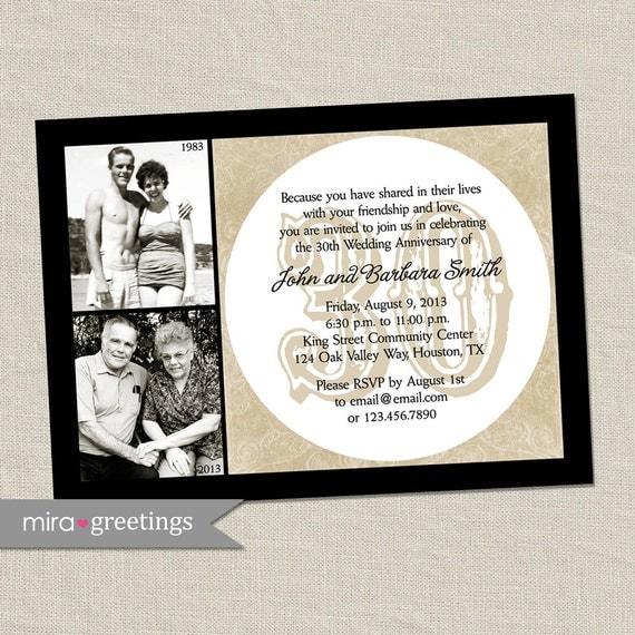 30th Anniversary Invitation Pearl Wedding Anniversary Party