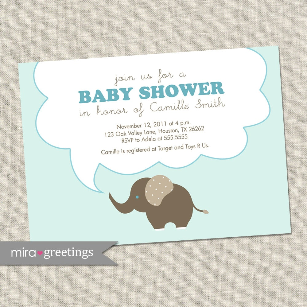 elephant baby shower invitations baby boy invites gender