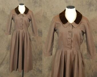 vintage 50s Dress - 1950s Brown Twill Velvet Collar Dress Sz S M
